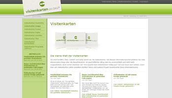 Abbildung der Homepage der Website Visitenkarten-24.org